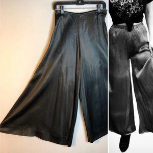 Pants - Vintage 1930s Satin Pants Highwaist Palazzo Wide S